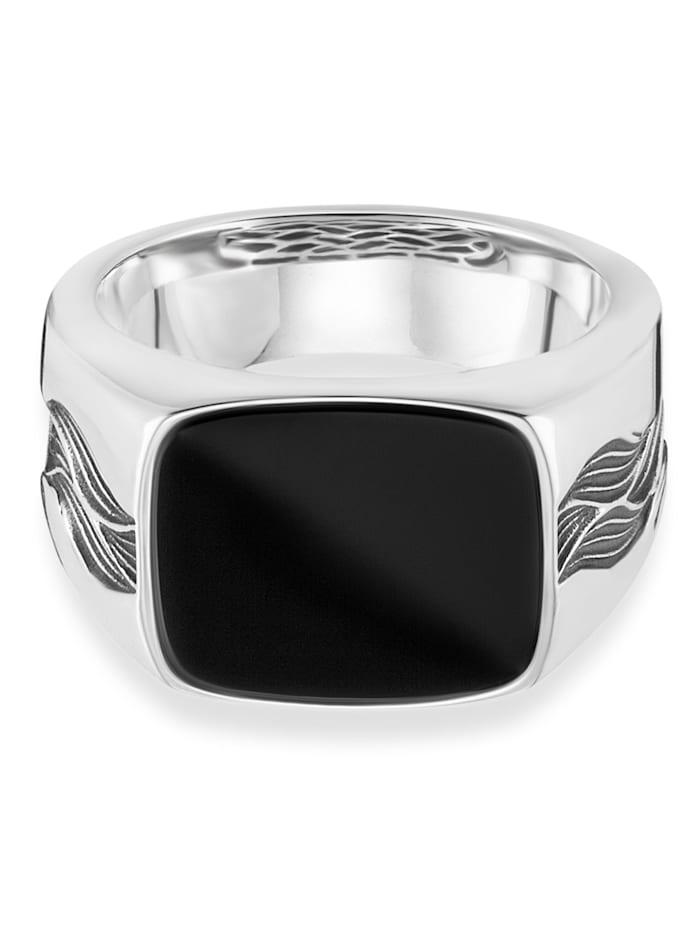 CAI Ring 925/- Sterling Silber Onyx schwarz Glänzend 3,00ct 925/- Sterling Silber, weiß