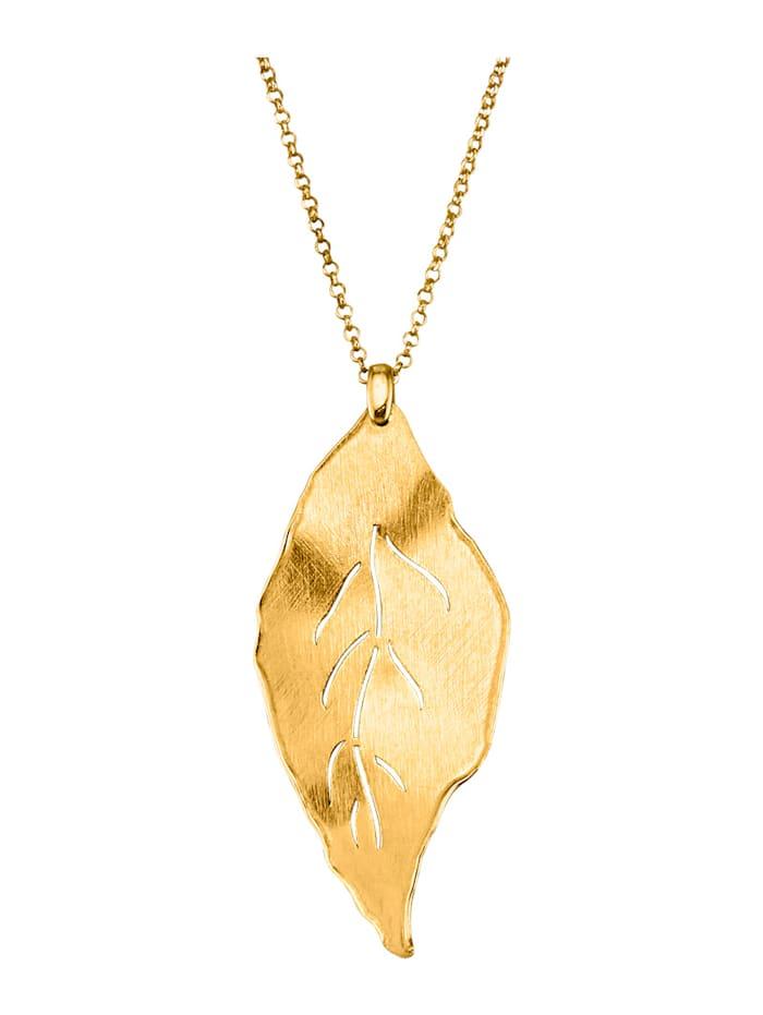 Halsband med bladhänge av guldfärgat silver 925, Guldfärgad