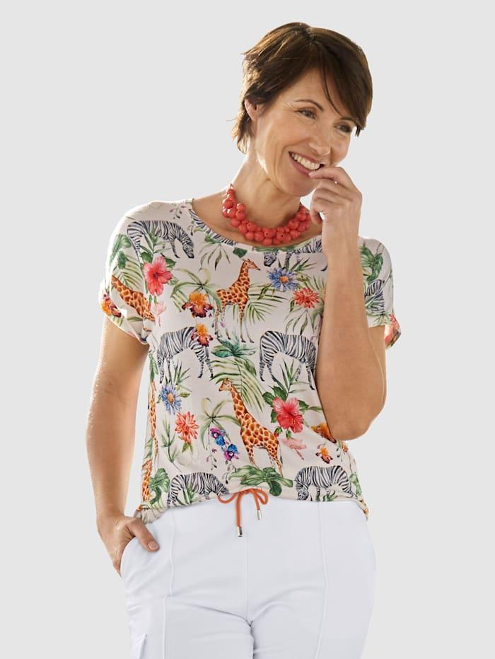 Laura Kent T-shirt à imprimé jungle et animaux tendance, Blanc
