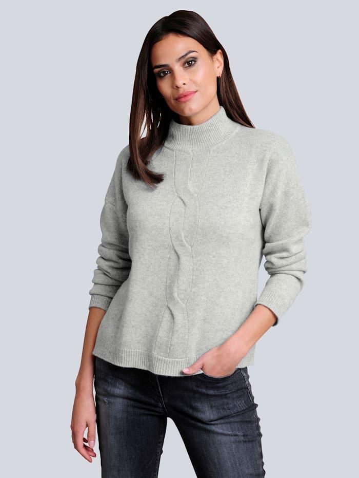 Alba Moda Pullover mit effektvollem Zopfmuster im Vorderteil, Grau