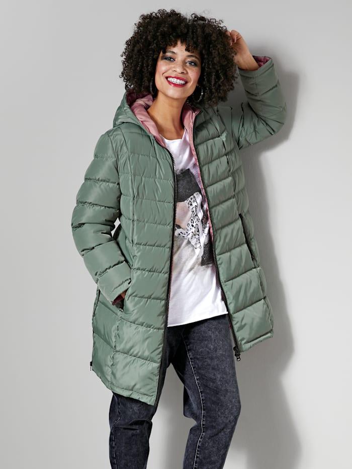 Angel of Style Gewatteerde jas met contrastkleurige voering, Olijf