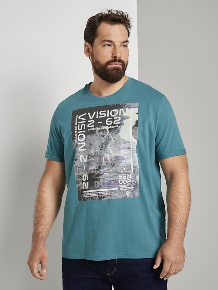 Tom Tailor Men Plus T-Shirt mit Reflekt-Print, ever green