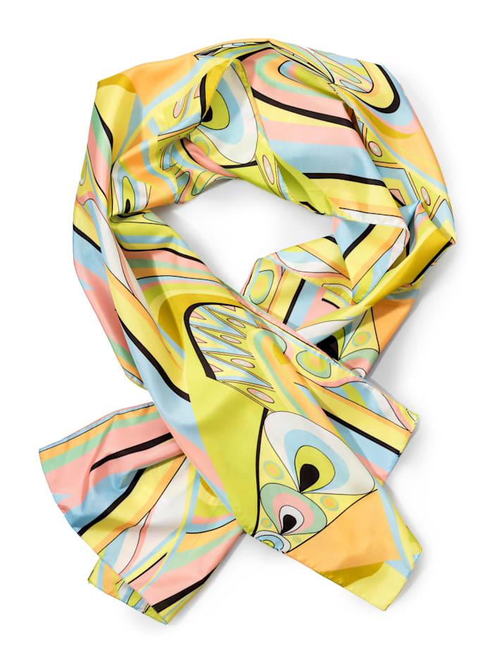 Alba Moda Sjaaltje met paisleypatroon, Geel/Blauw