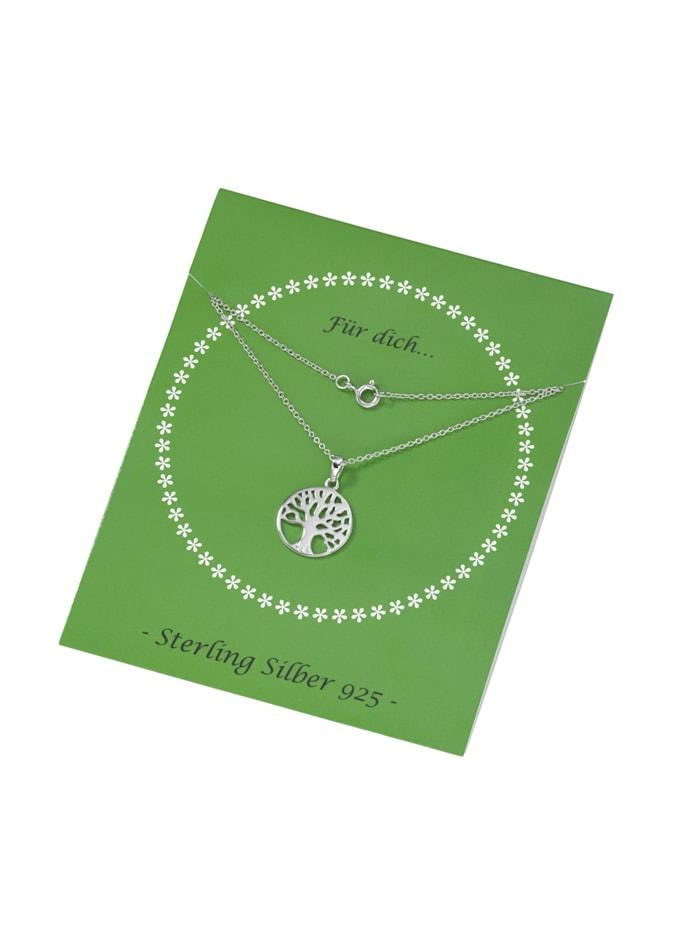 Kette Lebensbaum, Karte, Silber 925