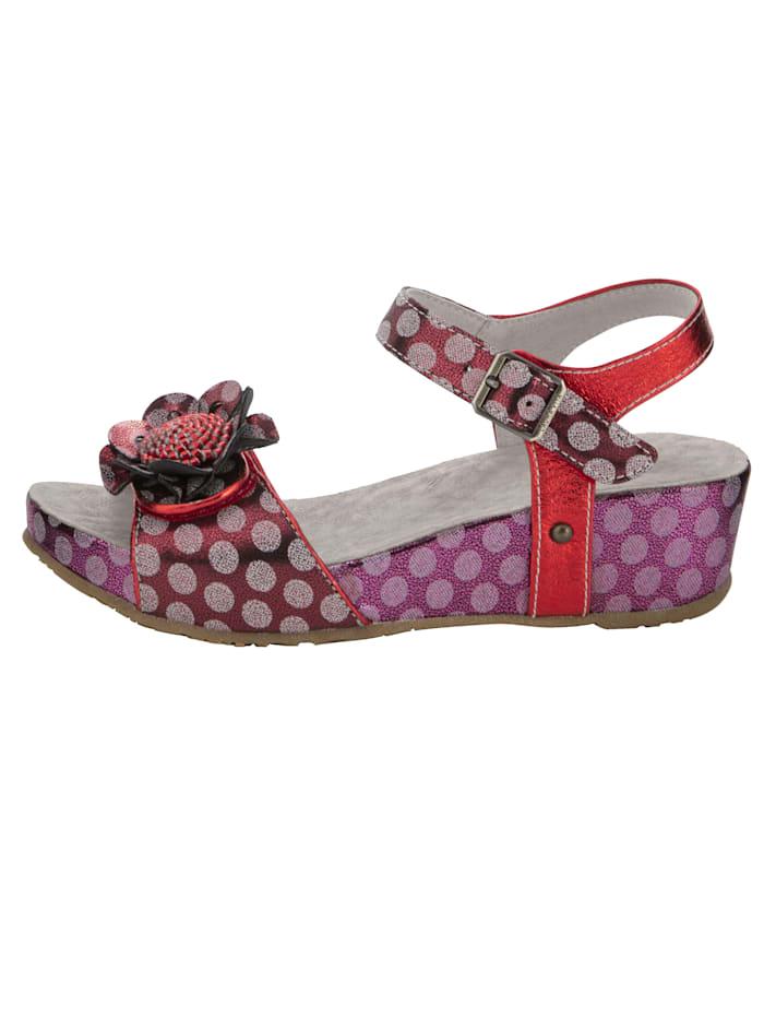 Sandales compensées à pois et application florale