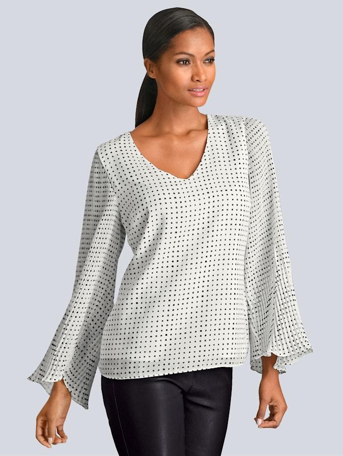 Alba Moda Bluse mit plissierten Ärmeln, Off-white