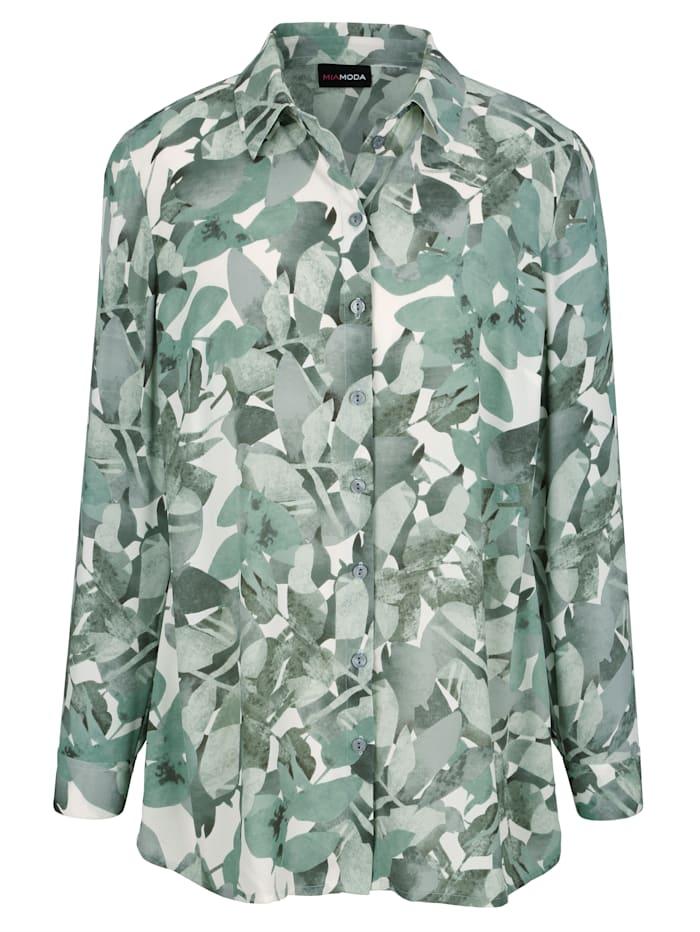Bluse aus grafischem Blätterdruck