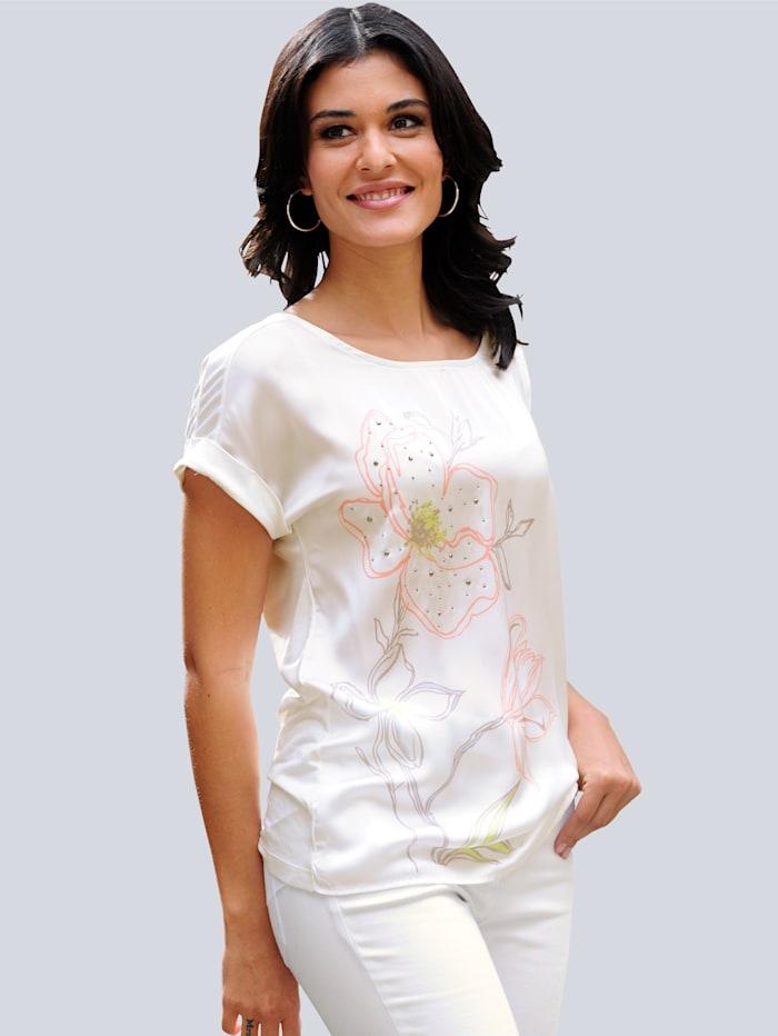 Alba Moda Shirt met exclusieve Alba Moda print, Offwhite/Perzik/Geel/Beige