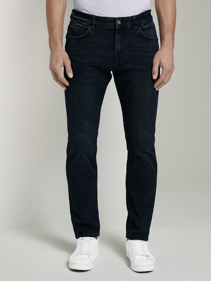 Tom Tailor Marvin Straight Jeans mit Taschendetails, dark blue denim