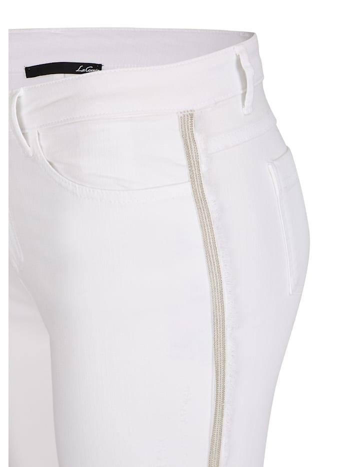 Jeans mit Beinfransen und Glitzergalon