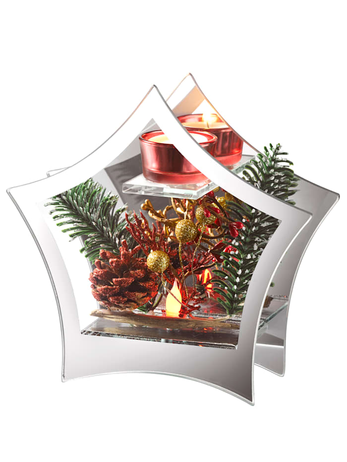 Dekoration med LED och ljushållare, Röd