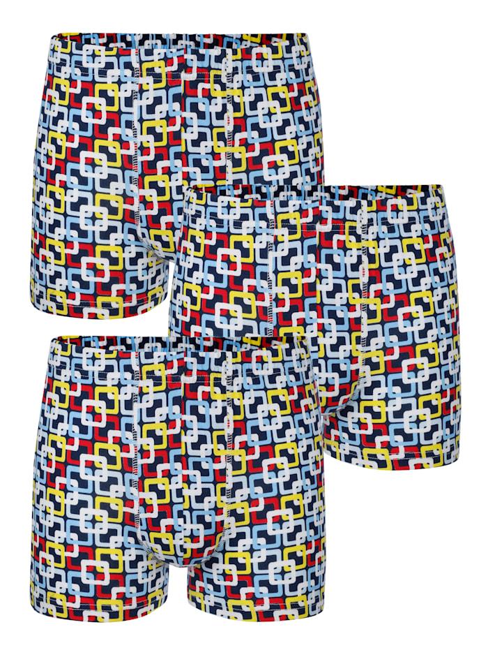Pantys im 3er-Pack, Marineblau/Rot/Gelb