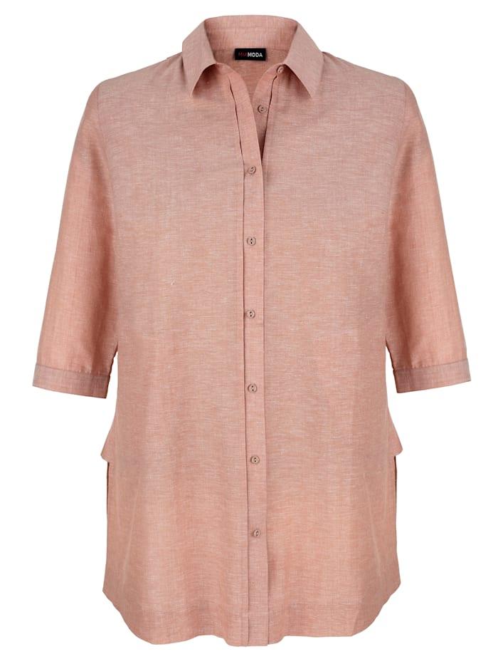 MIAMODA Lang bluse i bomull med lin, Rosa