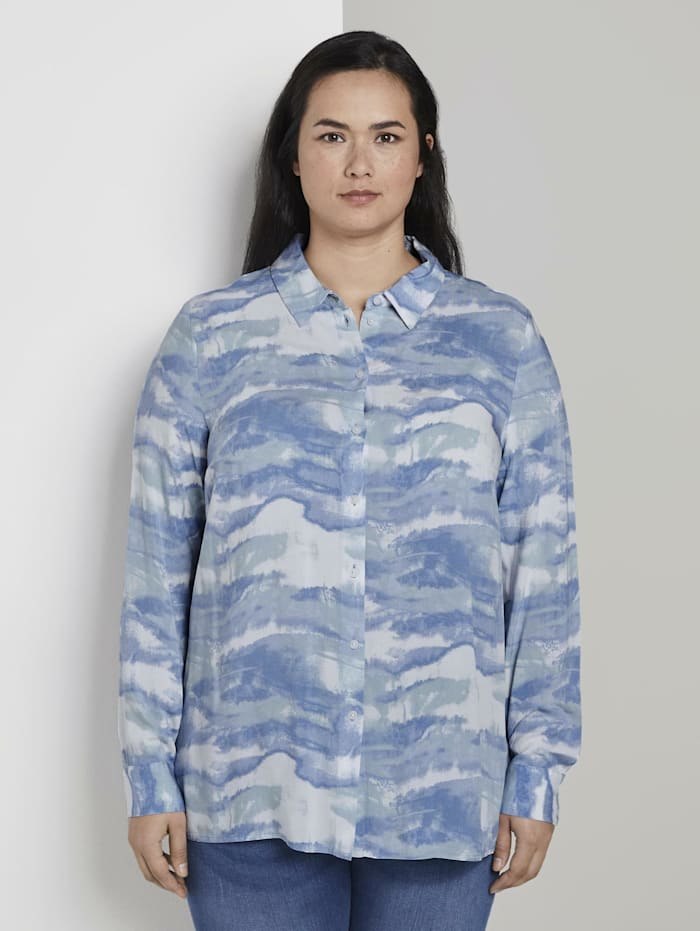 MY TRUE ME by Tom Tailor Bluse im Tie-Dye Look, bluish tie dye