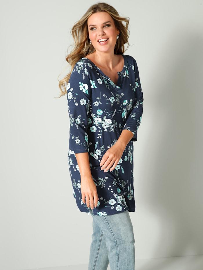 Janet & Joyce Tunika-Shirt mit floralem Muster, Blau/Mintgrün