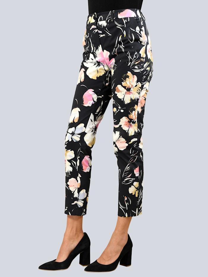 Alba Moda Hose mit Bügelfalte, Schwarz/Creme-Weiß/Pink