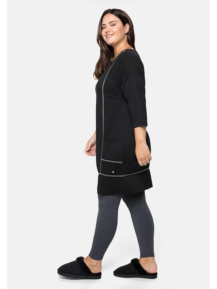 Relax-Shirtkleid mit 3/4-Ärmeln und Eingrifftaschen