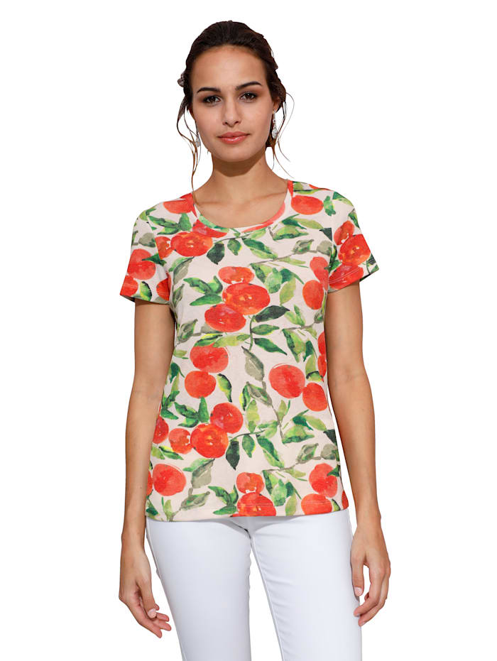 AMY VERMONT Shirt met geribde structuur, Wit/Oranje