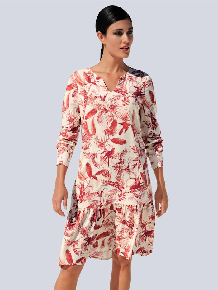 Alba Moda Kleid mit modischem Tropical-Dessin, Off-white/Rot