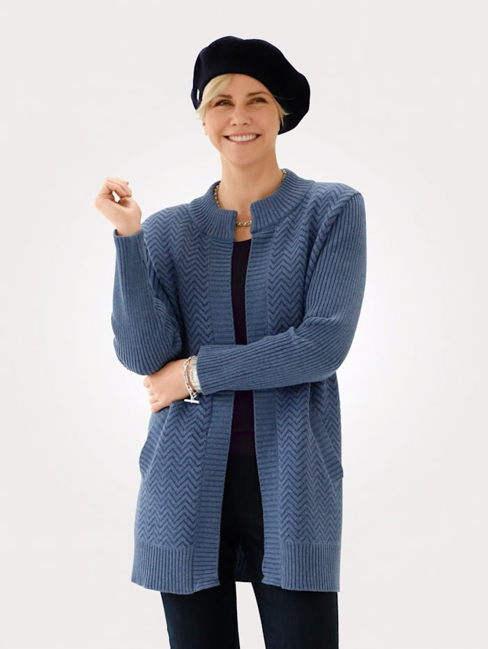 MONA Cardigan in a graphic jacquard knit, Smoke Blue/Navy