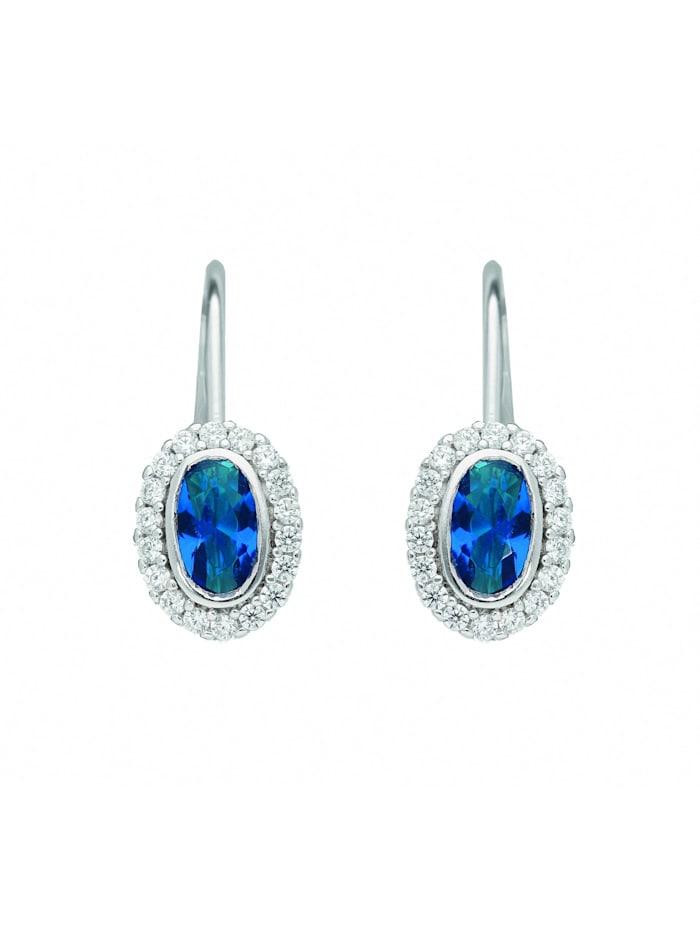 1001 Diamonds Damen Silberschmuck 925 Silber Ohrringe / Ohrhänger mit Zirkonia, blau