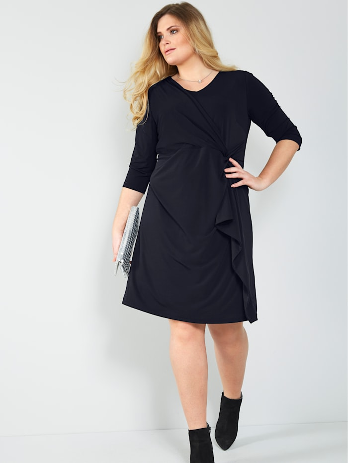Sara Lindholm Jersey jurk in geknoopte look, Zwart