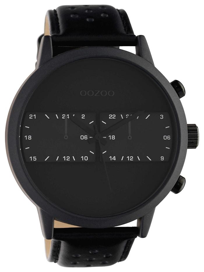OOZOO Herrenuhr mit Lederband Ø 50 mm Schwarz, Schwarz