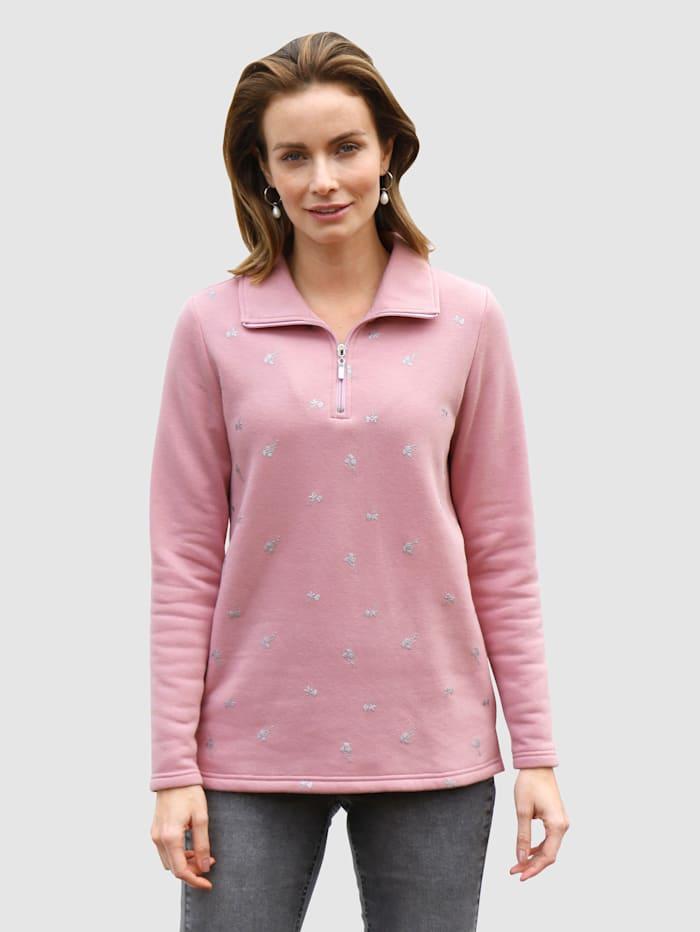 Paola Sweatshirt mit Glitzerdruck im Vorderteil, Lavendel