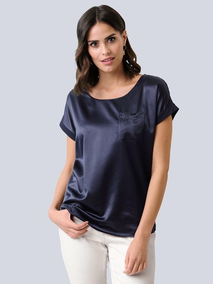 Alba Moda Shirt van een mooie materialenmix, Marine