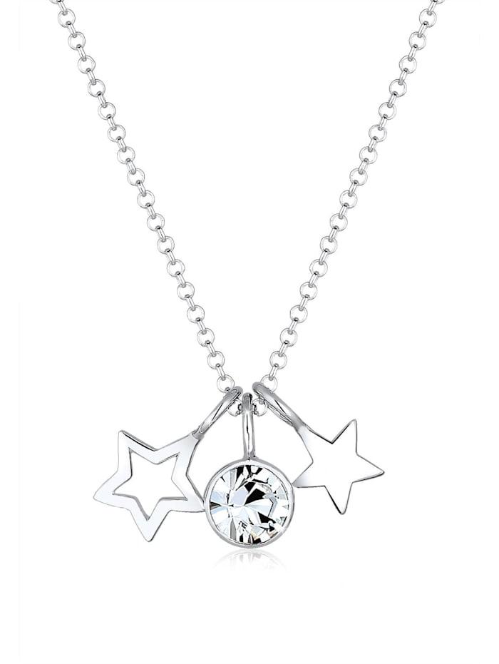 Elli Halskette Sterne Astro Kristalle 925 Silber, Silber