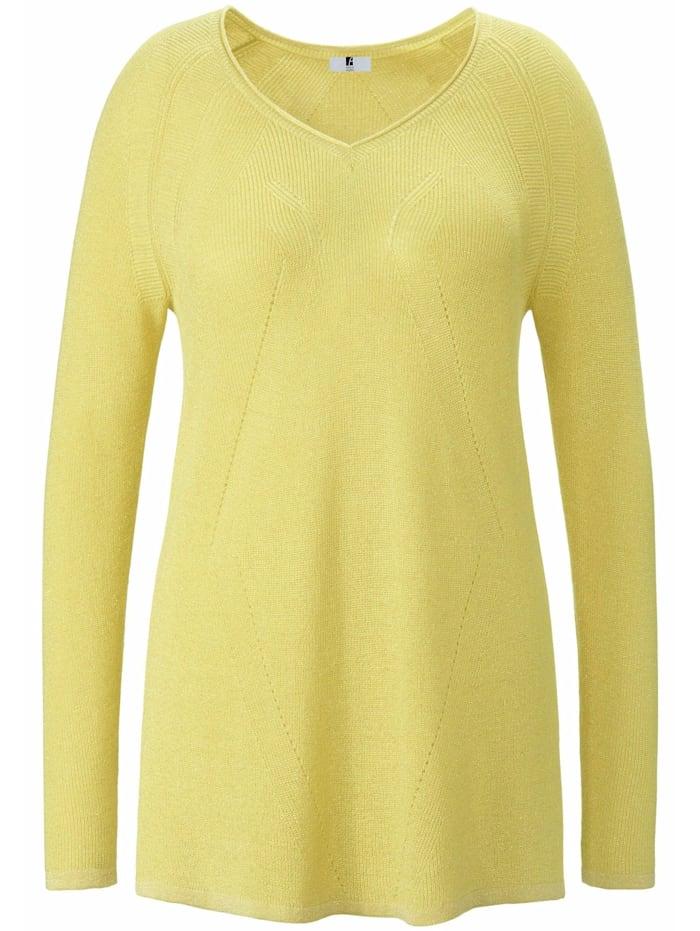 Anna Aura Pullover V-Pullover, gelb-metallic