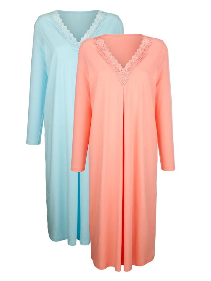 Harmony Nachthemden mit eleganten Spitzendetails, Apricot/Türkis