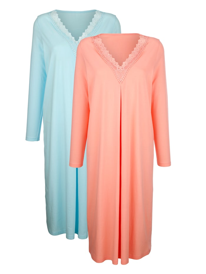 Harmony Nachthemden met elegante details van kant, Apricot/Turquoise