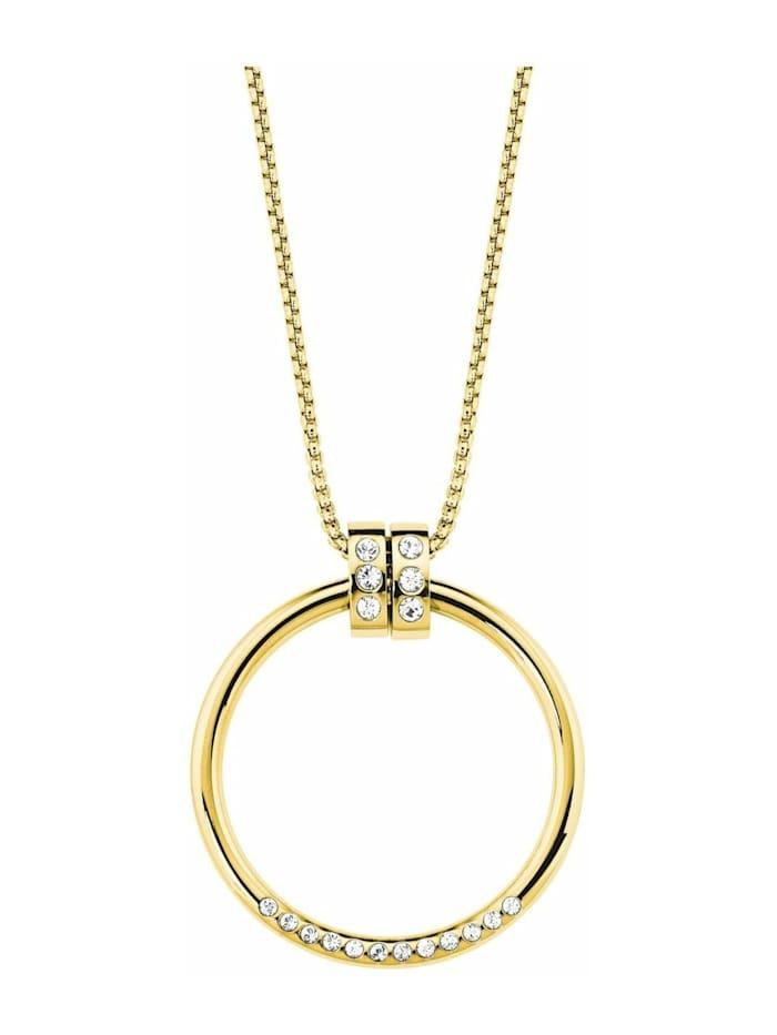 s.Oliver Ketten mit Anhänger für Damen, Edelstahl,Kristallglas Kreis, Silber