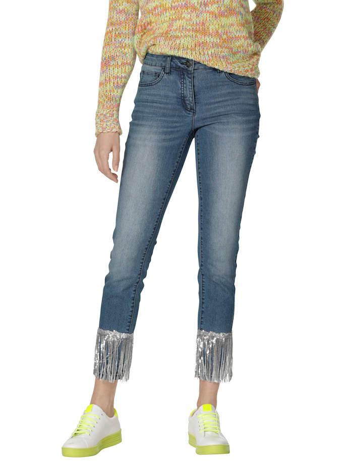AMY VERMONT Jeans mit Pailletten am Saum, Blue bleached