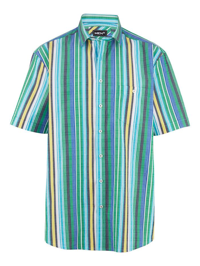 Men Plus Kurzarmseersuckerhemd aus reiner Baumwolle, Gelb/Türkis/Weiß