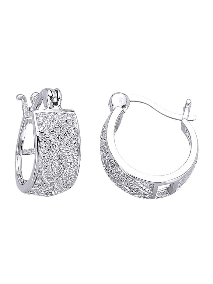 Creolen mit Diamant, Silberfarben