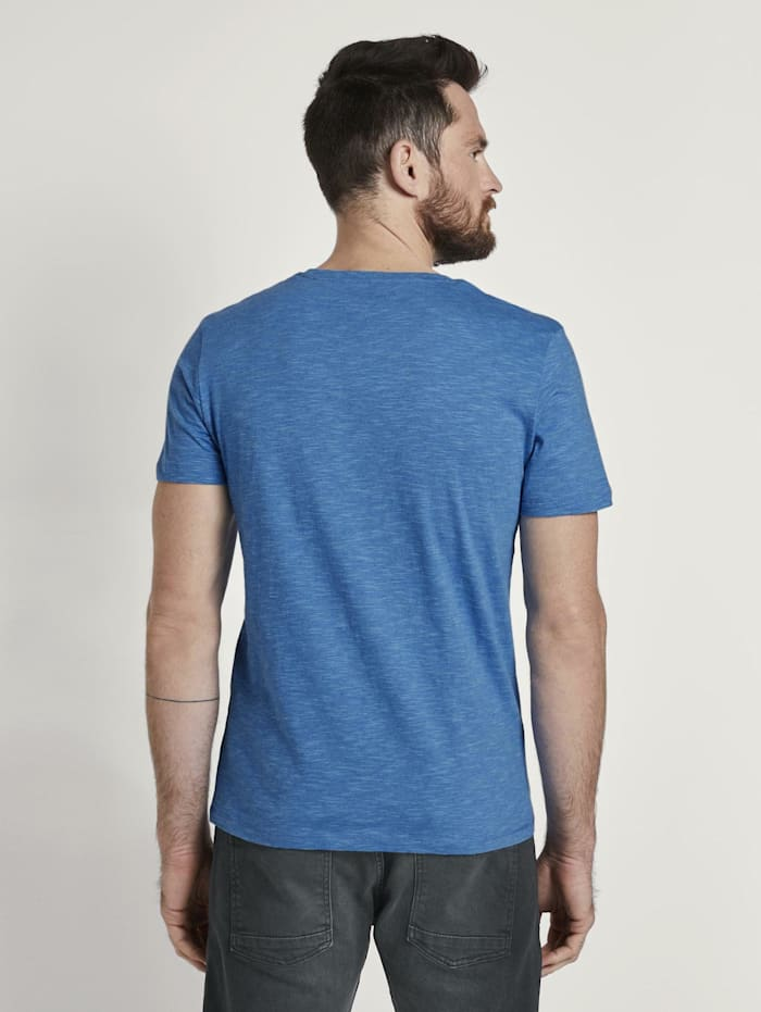 Gestreiftes Jersey T-Shirt mit Print
