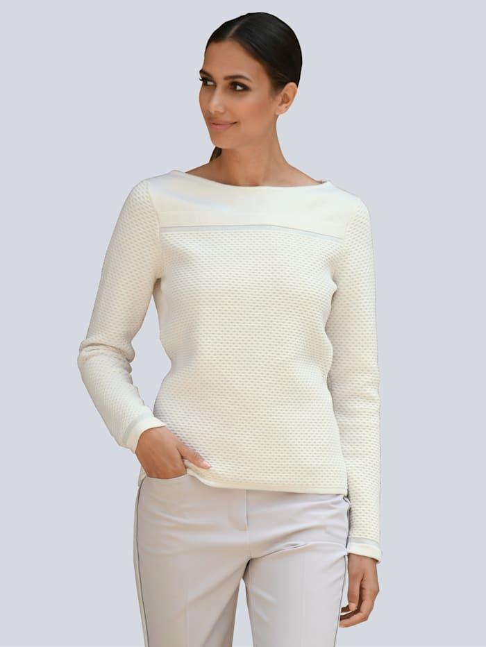 Alba Moda Pull-over avec fil brillant discret, Blanc cassé/Coloris argent