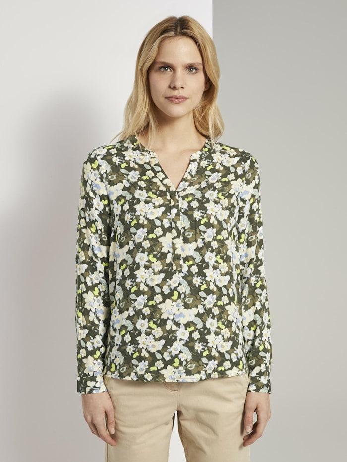 Tom Tailor Bluse mit Blumenmuster, small khaki floral design