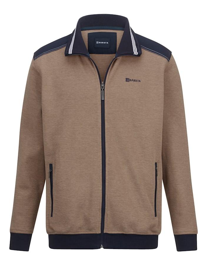 BABISTA Sweat bunda v módnom štrukturovanom vzhľade, Béžová