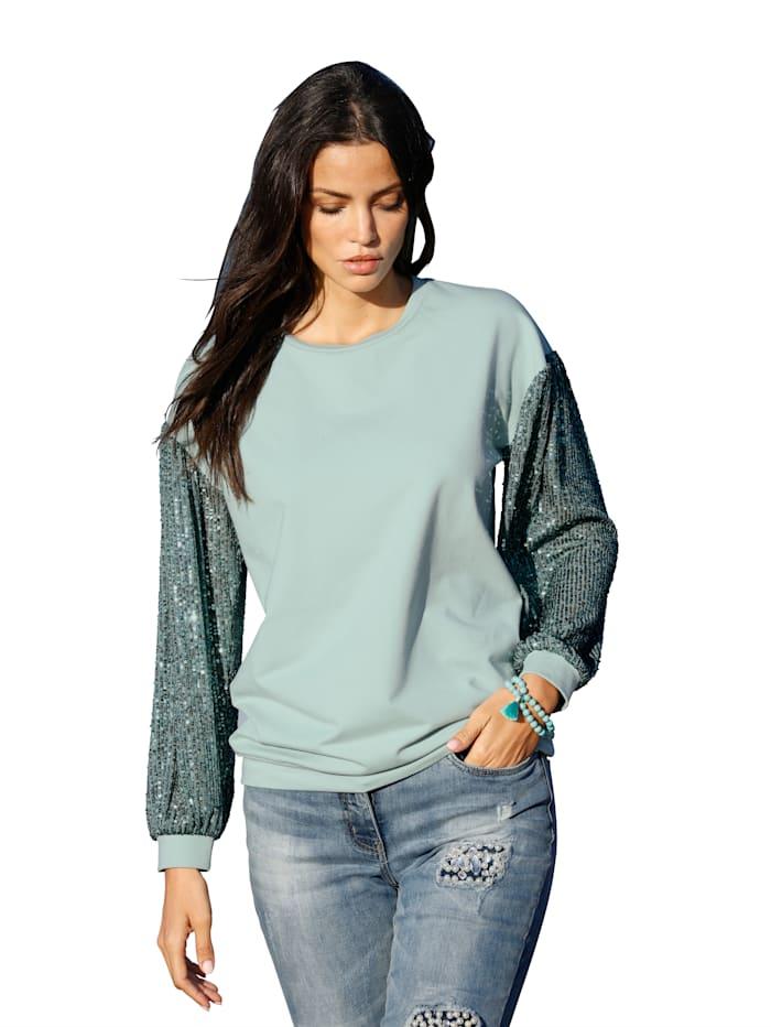 AMY VERMONT Sweatshirt mit Ärmeln aus Pailletten, Türkis