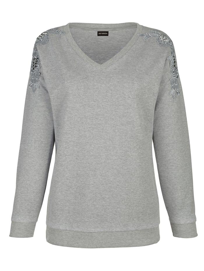 AMY VERMONT Sweatshirt mit Spitze und Strasssteindekoration, Grau