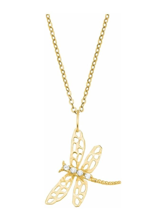 amor Kette mit Anhänger für Damen, Gold 375, Libelle, Gold