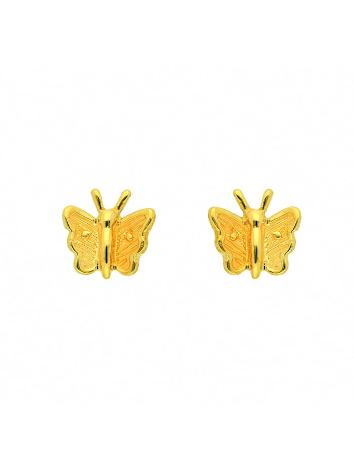 1001 Diamonds Damen Goldschmuck 333 Gold Ohrringe / Ohrstecker Schmetterling, gold