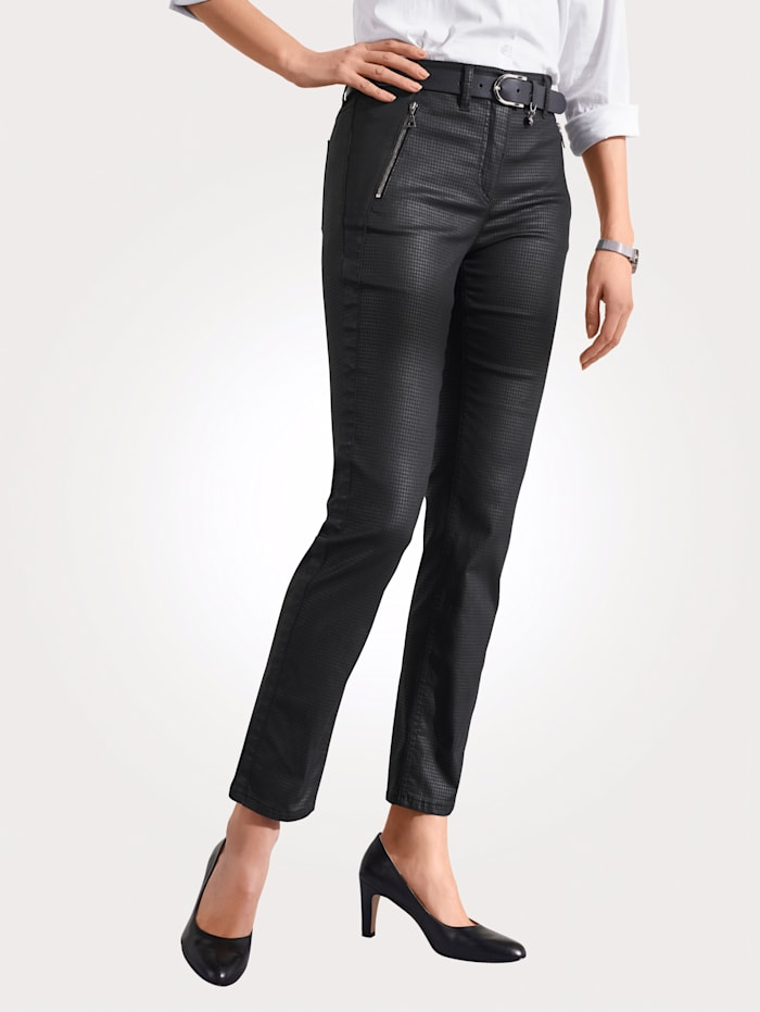 Toni Trousers in a houndstooth pattern, Black