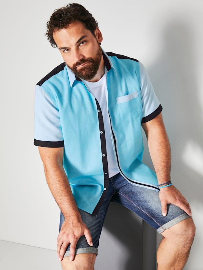 Men Plus Kurzarmhemd aus reiner Baumwolle, Türkis