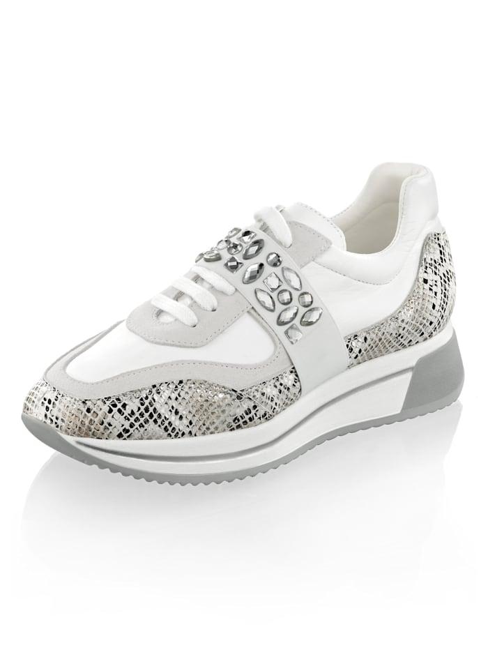 Alba Moda Sneaker aus Leder in verschiedenen Optiken, Weiß/Grau
