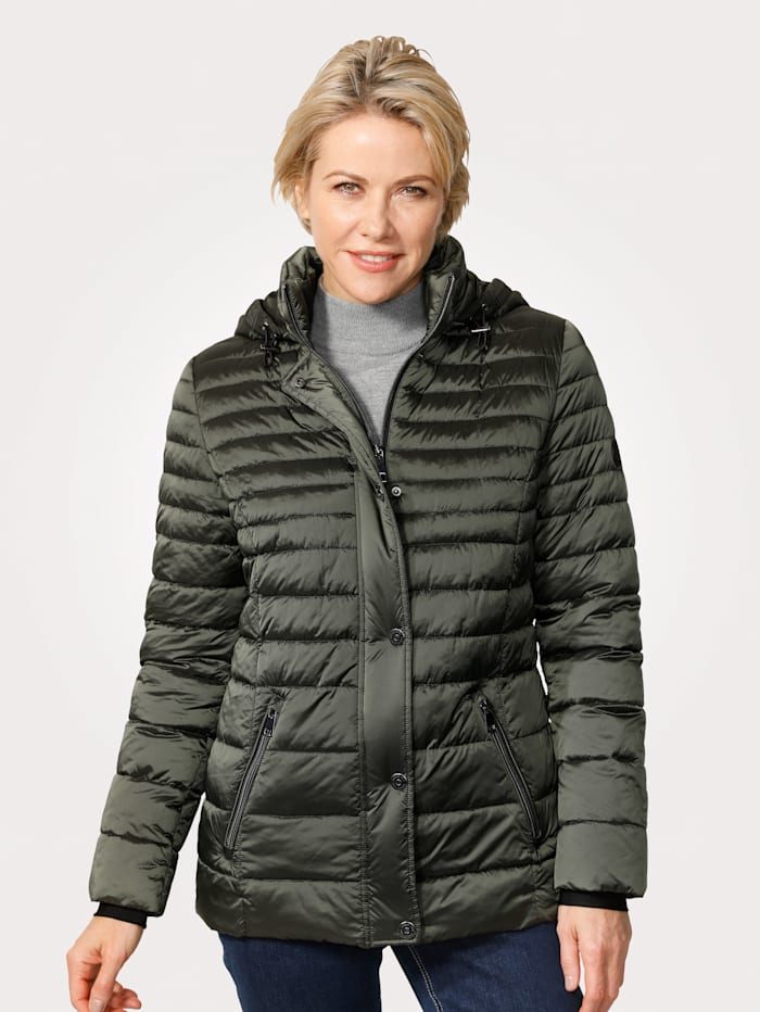 Barbara Lebek Quilted jacket in a classic design, Dark Green