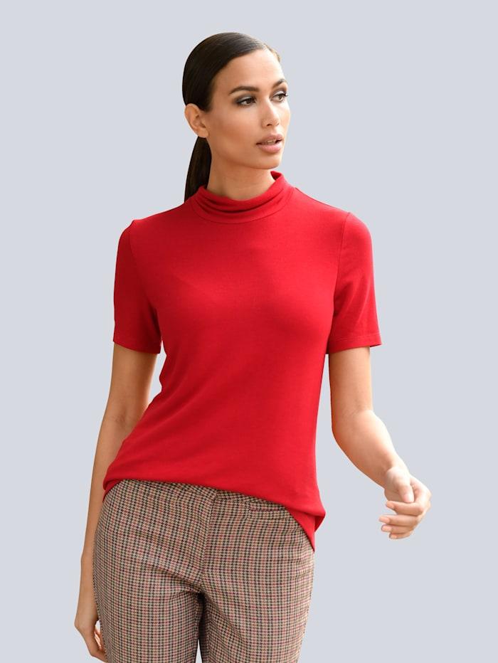 Alba Moda Shirt mit kleinem, gerafftem Stehkragen, Rot